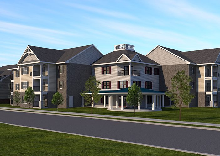 Sellersville Senior Apartments front view rendering